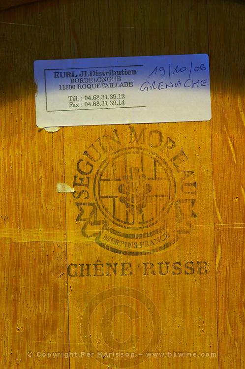 Grenache, Chene Russe, Russian oak barrel from Seguin Moreau. Domaine Jean Louis Denois. Limoux. Languedoc. Barrel cellar. France. Europe.