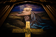 The altar cross and painting depicting Jesus Christ praying in Gethsemane (Matthew 26:36) at Gethsemane Lutheran Church on Tuesday, July 28, 2020, in St. Louis.  LCMS Communications/Erik M. Lunsford