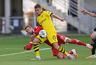 Zweikampf Leopold Zingerle ´SCP Torwart , gegen Thorgan Hazard  during the Paderborn vs Borussia Dortmund Bundesliga match at Benteler Arena, Paderborn, Germany on 31 May 2020.