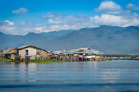 Typical village and houses built on stilts in Inle Lake, Myanmar