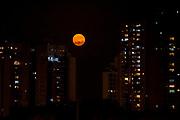 Full orange moon rises over an urban cityscape