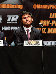 LOS ANGELES, CA - MAR 10 Floyd Mayweather and Manny Pacquiao arrive at the red carpet before the Mayweather vs Pacquiao press conference at the Nokia Theater in Los Angeles, California USA to promote their upcoming bout at the MGM Grand in Las Vegas, NV May 2, 2015. This is the ony presser. 2015 Feb 9. Byline, credit, TV usage, web usage or linkback must read SILVEXPHOTO.COM. Failure to byline correctly will incur double the agreed fee. Tel: +1 714 504 6870.