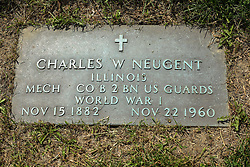 31 August 2017:   Veterans graves in Park Hill Cemetery in eastern McLean County.<br /> <br /> Charles W Nugent  Illinois  MECH Co B BN  US Guards  World War I  Nov 15 1882  Nov 22 1960