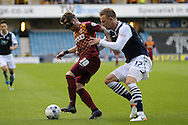Billy Clarke  of Bradford city (l) blocks the ball from Byron Webster of Millwall. Skybet football league one play off semi final 2nd leg match, Millwall v Bradford city at The New Den in London on Friday 20th May 2016.<br /> pic by John Patrick Fletcher, Andrew Orchard sports photography.