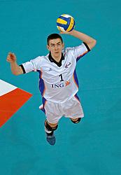 12-03-2005;VOLLEYBAL;FINAL4 TOP TEAMS CUP;DUKLA LIBERIC-OMNIWOLRD;ATHENE<br /> <br /> De ploeg van trainer Arno van Solkema ging tegen het Tsjechische Dukla Liberic in vijf sets ten onder - <br /> <br /> <br /> <br /> ©2005-WWW.FOTOHOOGENDOORN.NL