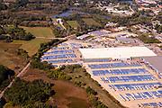 Aerial photograph of Stoughton Trailer, a truck trailer manufacturer in Stoughton, Wisconsin, USA.