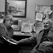 """In an interview for an adult day-care center, Bob laughs at sexual joke he made to a supervisor. One side effect of Dementia is the loss of restraint towards making inappropriate comments...ltqmb    """"bad laugh"""""""