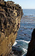 """Rock climber Kevin Jorgeson making the first ascent of """"Fool Me Once"""" (5.12X), on a tufoni sandstone sea cliff at Salt Point State Park, Sonoma Coast, Calfornia"""