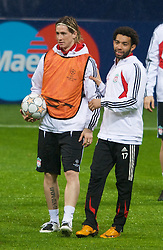 MILAN, ITALY - Monday, March 10, 2008: Liverpool's Fernando Torres and Jermain Pennant training at the San Siro Stadium ahead of the UEFA Champions League First knockout round 2nd Leg match against FC Internazionale Milano. (Pic by David Rawcliffe/Propaganda)