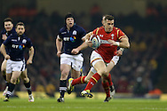 Gareth Davies of Wales ® makes a break to score his try. . RBS Six nations championship 2016, Wales v Scotland at the Principality Stadium in Cardiff, South Wales on Saturday 13th February 2016. <br /> pic by  Andrew Orchard, Andrew Orchard sports photography.
