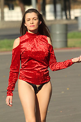 """""""Baywatch"""" actress Alicia Arden spotted going to and from her trailer in a revealing outfit on the set of """"Ho Ho Ho"""" in Hollywood. 19 Dec 2018 Pictured: Alicia Arden. Photo credit: David Edwards / MEGA TheMegaAgency.com +1 888 505 6342"""