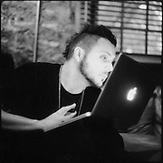AUSTIN, TX - APRIL 10, 2009: Justin Furstenfeld of rock and roll band Blue October prepares to perform at Stubb's BBQ during the SXSW music festival.