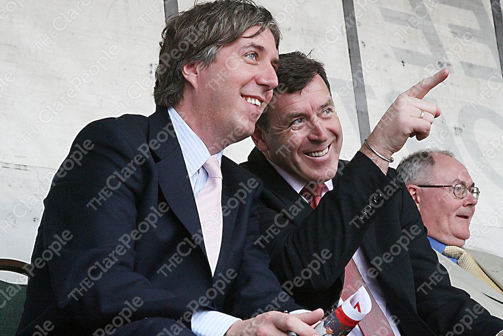 John Delaney and Packie Bonner see a familiar face in the crowd at the re-opening of the McDonagh memorial pitch in Newmarket-on-Fergus on Sunday.<br /><br /><br /><br />Photograph by Yvonne Vaughan.