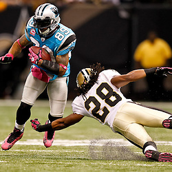 October 3, 2010; New Orleans, LA, USA; New Orleans Saints safety Usama Young (28) dives to tackle Carolina Panthers wide receiver Steve Smith (89)during the second half at the Louisiana Superdome. The Saints defeated the Panthers 16-14. Mandatory Credit: Derick E. Hingle