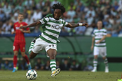 August 15, 2017 - Lisbon, Portugal - Sporting's forward Gelson Martins in action during the UEFA Champions League  football match between Sporting CP and Steaua Bucuresti at Alvalade  Stadium in Lisbon on August 15, 2017. (Credit Image: © Carlos Costa/NurPhoto via ZUMA Press)