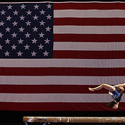 Erin Macadaeg, Redwood City, California, in action on the Balance Beam during the Senior Women Competition at The 2013 P&G Gymnastics Championships, USA Gymnastics' National Championships at the XL, Centre, Hartford, Connecticut, USA. 15th August 2013. Photo Tim Clayton