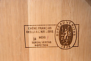 barrel with stamp veritas couvent des jacobins saint emilion bordeaux france