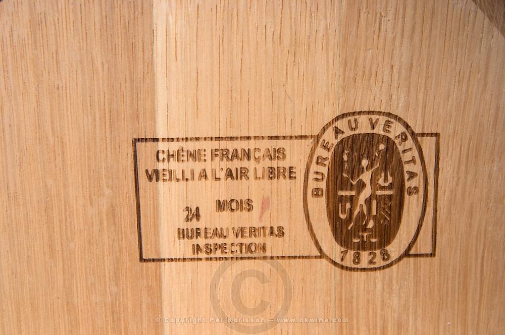 barrel with stamp veritas couvent des jacobins saint emilion bordeaux france