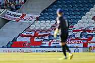 Flags brought by Charlton fans  during the EFL Sky Bet League 1 match between Rochdale and Charlton Athletic at Spotland, Rochdale, England on 5 May 2018. Picture by Paul Thompson.