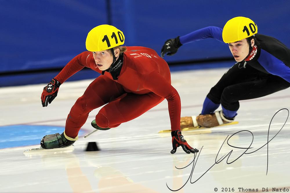 September 12, 2010 - Kearns, Utah - Landon Hatfield and Adam Callister compete Desert Classic short track speedskating competition held at the Utah Olympic Oval.