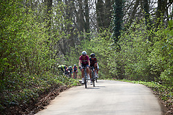 Marta Bastianelli (ITA) and Kasia Niewiadoma (POL) lead on the final descent of Kemmelberg at Gent Wevelgem - Elite Women 2019, a 136.9 km road race from Ieper to Wevelgem, Belgium on March 31, 2019. Photo by Sean Robinson/velofocus.com