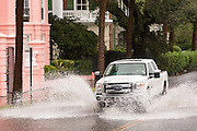 A truck plows through floodwater along the Battery in the historic district as Hurricane Joaquin brings heavy rain, flooding and strong winds as it passes offshore October 4, 2015 in Charleston, South Carolina.