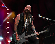 Chris Kael of Five Finger Death Punch on July 27, 2018 at FivePoint Amphitheater in Irvine, California