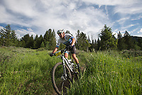 Chase Beninga cruises along the final stretch of the Putt-Putt Trail during the Cache Creek Mountain Bike Race last week in east Jackson.