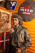 Che Guevara life-size model with portrait of Eva Peron, Volver cafe, Ushuaia, Beagle Channel, Tierra del Fuego, Argentina.