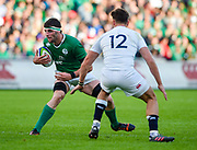 Ireland second-row Sean O'Connor side-steps England centre  Johnny Williams during the World Rugby U20 Championship Final   match England U20 -V- Ireland U20 at The AJ Bell Stadium, Salford, Greater Manchester, England onSaturday, June 25, 2016. (Steve Flynn/Image of Sport)