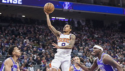 December 29, 2017 - Sacramento, CA, USA - The Phoenix Suns' Tyler Ulis (8) drives between the Sacramento Kings' Skal Labissiere, left, and Zach Randolph (50) on Friday, Dec. 29, 2017, at the Golden 1 Center in Sacramento, Calif. (Credit Image: © Hector Amezcua/TNS via ZUMA Wire)