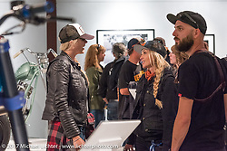 Dana Wilke and Leticia Cline at the Old Iron - Young Blood exhibition media and industry reception in the Motorcycles as Art gallery at the Buffalo Chip during the annual Sturgis Black Hills Motorcycle Rally. Sturgis, SD. USA. Sunday August 6, 2017. Photography ©2017 Michael Lichter.
