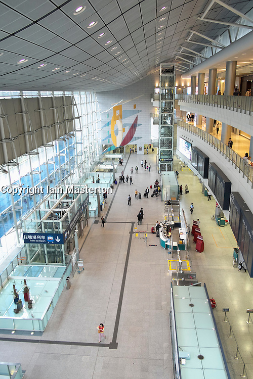 interior of Hong Kong railway Station concourse in Hong Kong