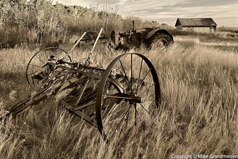 Old farm machinery, Baljennie, Saskatchewan, Canada