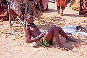 Himba tribesman at a funeral gathering, Kaokoland, Namibia