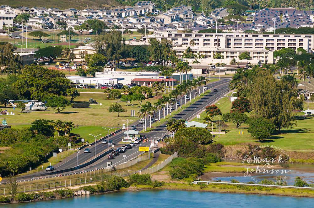 Main gate of the Kaneohe Marine Base Hawaii, Oahu, Hawaii