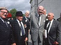 Pictured in the grey suit is Lieutenant Colonel David Sterling, famous for founding the elite SAS regiment. Wearing the tan beret on the far left is Lieutenant Colonel Cary Elwes. In the bowler hat is General Calvert and to the far right is General Georges Berge. Photograph by Terry Fincher 1988