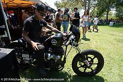 Custom bike builder Shaun Guardado of Suicide Machine at the Born Free chopper show. Silverado, CA. USA. Saturday June 23, 2018. Photography ©2018 Michael Lichter.