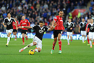 Southampton's Jose Fonte (l) holds off Cardiff city's Peter Odemwingie. Barclays Premier league, Cardiff city v Southampton at the Cardiff city Stadium in Cardiff,  South Wales on Boxing day, Thursday 26th Dec 2013. <br /> pic by Andrew Orchard, Andrew Orchard sports photography.