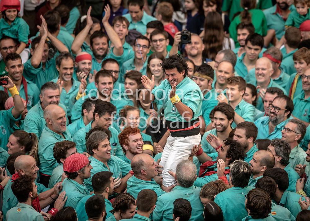 "Team leader Toni Bach  of ""Castellers de Vilafranca"" makes his last speach in the last performance of the season in Vilafranca del Penedès,Barcelona, Spain. 1st Nov 2019."