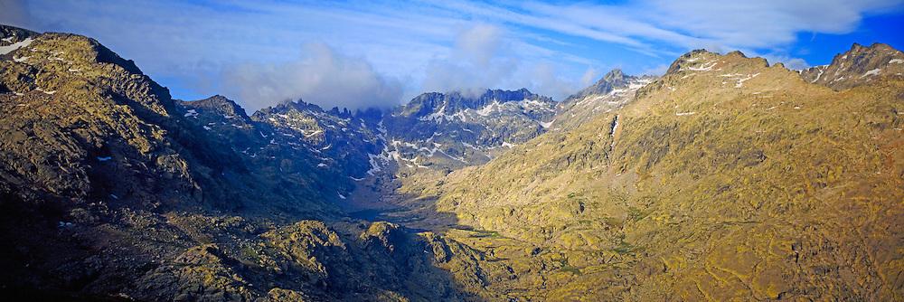 SPAIN, CASTILE and LEON Sierra de Gredos Mountains, southwest of Avila; mountain peaks above Laguna Grande