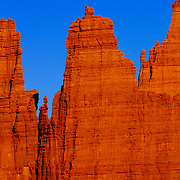 Eroded landscape at Fisher Towers, USA, Utah, Moab, Castle Valley.