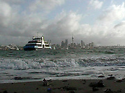The ancient Seabus Kea, which was ancient in 2001 already (or felt like it was), seen here in in front of the Auckland Skyline from Devonport Wharf beach.
