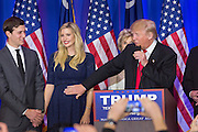 Billionaire and GOP presidential candidate Donald Trump reaches over to pat the baby bump of daughter Ivanka and her husband Jared Kushner as they celebrate victory in the South Carolina Republican primary February 20, 2016 in Spartanburg, South Carolina, USA .