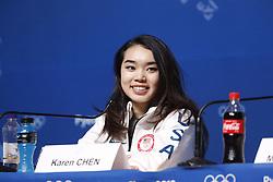 February 18, 2018 - Pyeongchang, KOREA - United States figure skater Bradie Karen Chen at press conference during the Pyeongchang 2018 Olympic Winter Games at Kwandong Hockey Centre. Finland beat Sweden 7-2. (Credit Image: © David McIntyre via ZUMA Wire)