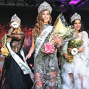 Julia Sinitsina (2nd) Anhelina Chabanian (1st) and Laura Mukhtar (3rd)winner of Miss USSR UK 2019 2019 at Hilton Hotel Park Lane on 27 April 2019, London, UK.