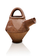 Hittite terra cotta side spout with stainer basket handles pitcher . Hittite Period, 1600 - 1200 BC.  Hattusa Boğazkale. Çorum Archaeological Museum, Corum, Turkey. Against a white bacground. .<br />  <br /> If you prefer to buy from our ALAMY STOCK LIBRARY page at https://www.alamy.com/portfolio/paul-williams-funkystock/hittite-art-antiquities.html  - Hattusa into the LOWER SEARCH WITHIN GALLERY box. Refine search by adding background colour, place,etc<br /> <br /> Visit our HITTITE PHOTO COLLECTIONS for more photos to download or buy as wall art prints https://funkystock.photoshelter.com/gallery-collection/The-Hittites-Art-Artefacts-Antiquities-Historic-Sites-Pictures-Images-of/C0000NUBSMhSc3Oo