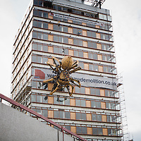 The spider hangs from Concourse House. The building, according to locals, has never been occupied since being built in the 1960s, until now as the giant spider stakes its claim to the tower.