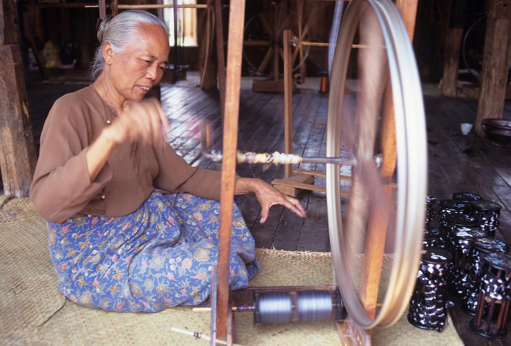 Silk factory at Inpaw Khone Village, Inle Lake, Shan State, Myanmar