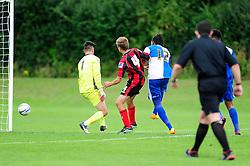 Bristol Rovers' U18s  Chad Douglas scores a goal - Photo mandatory by-line: Dougie Allward/JMP - Tel: Mobile: 07966 386802 17/08/2013 - SPORT - FOOTBALL - Bristol Rovers Training Ground - Friends Life Sports Ground - Bristol - Academy - Under 18s - Youth - Bristol Rovers U18s V Bournemouth U18s